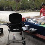Getting the grill ready for shrimp rolls which we served with mixed greens and tarragon.