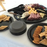 Array of meats and cheeses for appetizers.