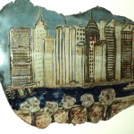 Clay piece of New York City view from New Jersey.