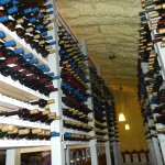 The shelves of the wine cave.