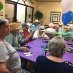 Residents socializing during the party.