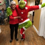Resident Jewell Hurd Posing with the Grinch.